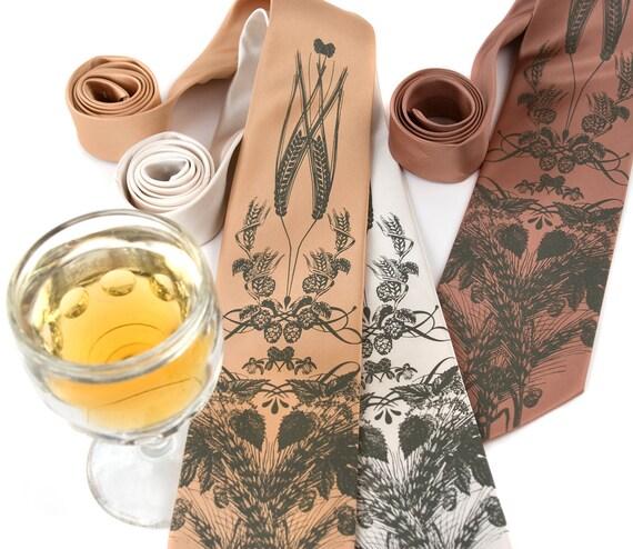 Beer necktie. Men's silkscreen hops, barley and wheat tie. Standard or narrow width. Golden olive print.