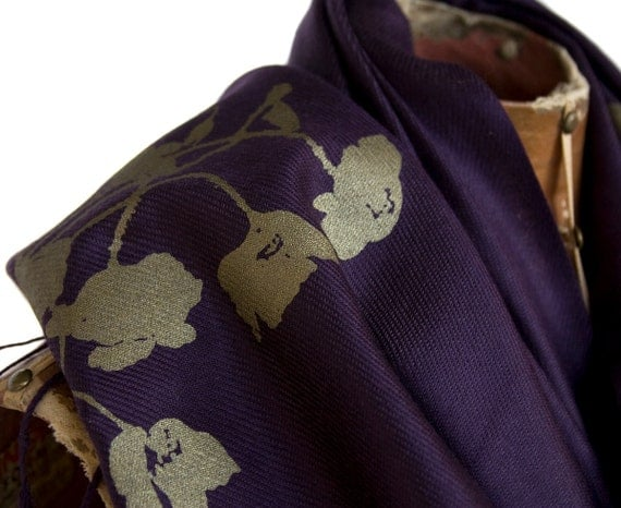 "Large eggplant Pashmina scarf. ""Poppy"" design. Silkscreened with antique brass ink. Unisex."