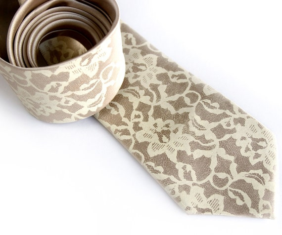 Boudoir Lace necktie. Men's silkscreen tie, ivory cream print. Your choice of colors: Champagne, pale copper & more. Standard or narrow size