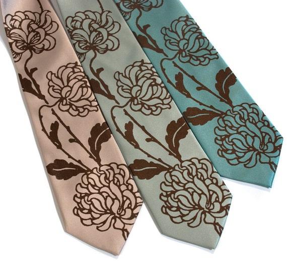 3 mens wedding ties. Custom groomsmen neckties. Wedding party discount. Shown in a peony print, matching microfiber vegan-safe ties.