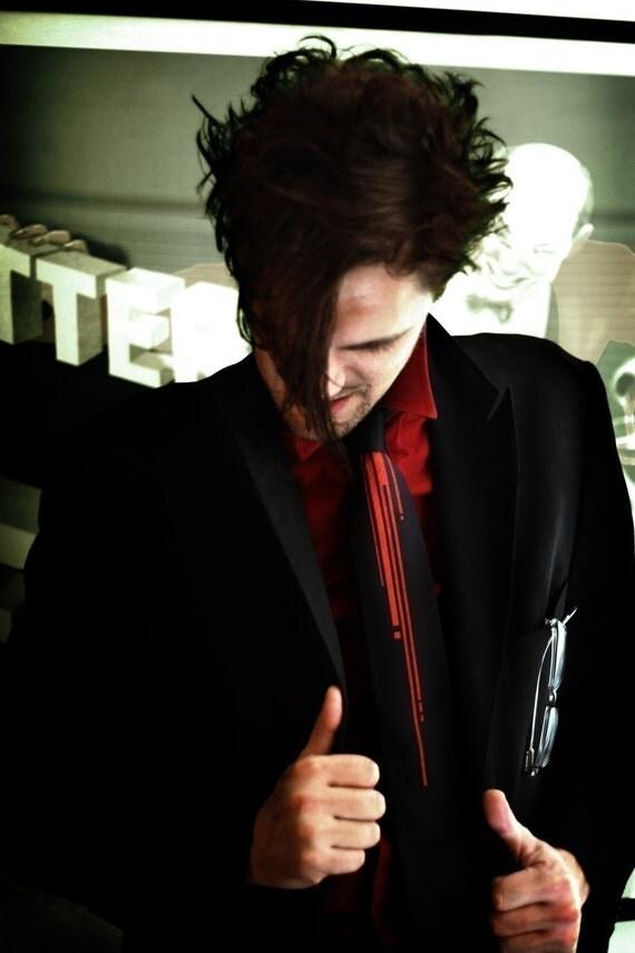 Strangle, screenprinted necktie with digital blood drips, skinny or standard width
