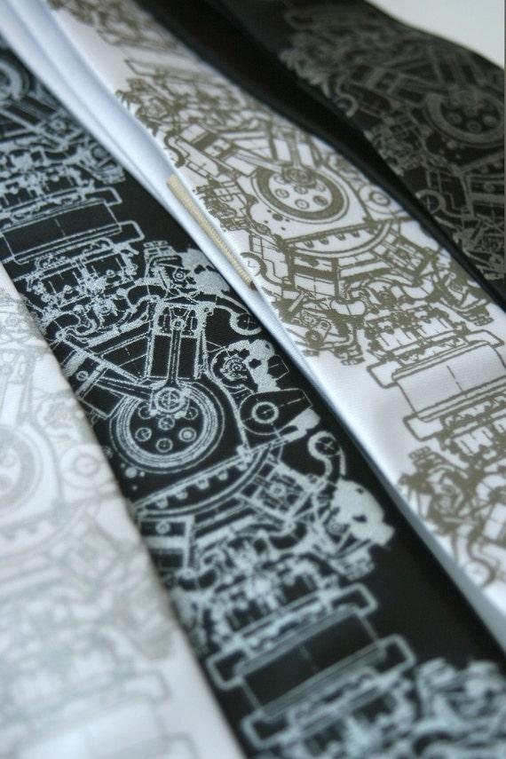 Engine Rosette Motor skinny necktie, microfiber