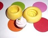 CUPCAKE 2 Piece Flexible Push Mold Mould For Resin Fimo Polymer Premo Wax Chocolate  (E200)