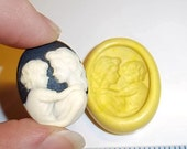 Mother & Baby CAMEO Flexible Push Mold Mould For Resin Paper Clay Sculpey Fimo Polymer Premo Wax Chocolate Fondant (J229)