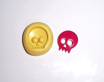 Skull Flexible Push Mold Mould Use Resin Paper Clay Sculpey Fimo Polymer Premo Wax Chocolate Dollhouse (M205)