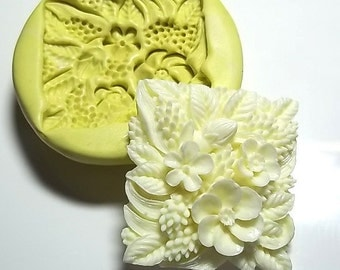 Square Flower Flexible Push Mold Mould For  Resin Paper Clay Sculpey Fimo Polymer Premo Wax Chocolate  (F124)
