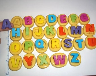 Alphabet Set/26 Flexible Push Mold Mould For Resin Paper Clay Sculpey Fimo Polymer Premo Wax Chocolate Fondant  M469