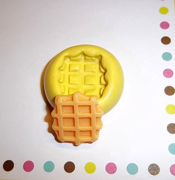WAFFLE Flexible Push Mold Mould For Miniature Kawaii Crafts From Resin Paper Clay Sculpey Fimo Polymer Premo Wax Chocolate Dollhouse (E125)