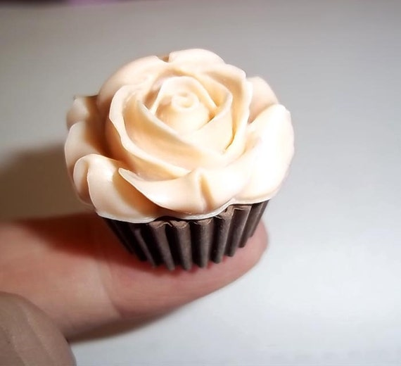 ROSE Icing Cupcake 2 Pc Flexible Mold Mould For Resin Paper Clay Sculpey Fimo Polymer Premo Wax Chocolate  E324
