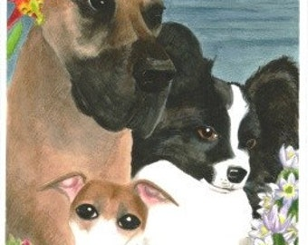 Three dogs in California; a watercolor painting custom pet portraits