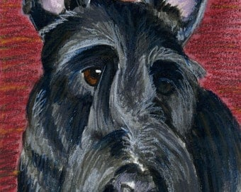 Scottish Terrier; a mixed media painting.......Custom Pet Portraits