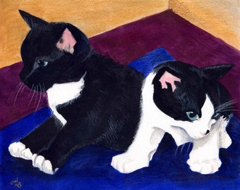 Kittens in a Corner, a watercolor Painting.....Custom  pet portraits