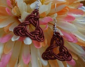 Triquetra celtic leather earrings
