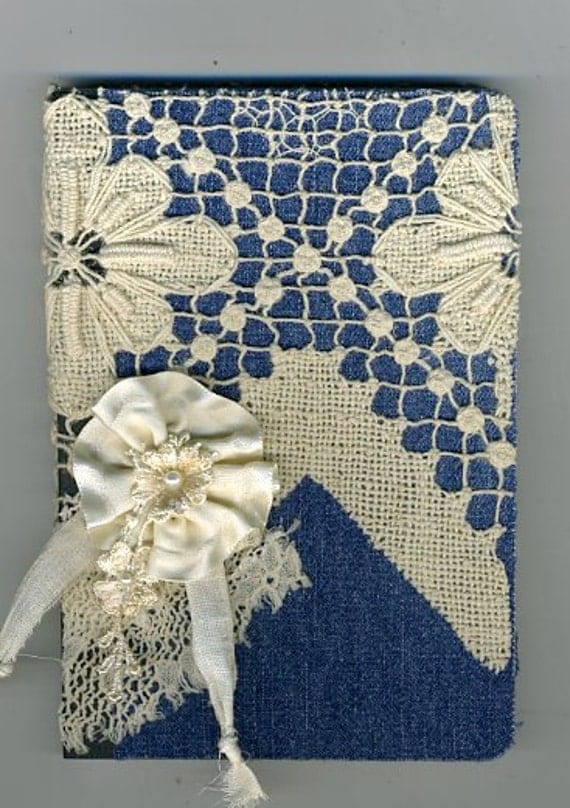 Journal notebook denim and antique lace shabby and chic