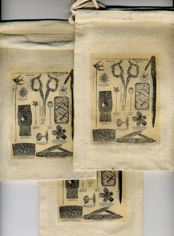 Gift bags pouches with Victorian desk accessories set of three