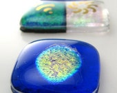 Beads 2 Go Sparkle- Set of 11 Dichroic fused glass cabochons