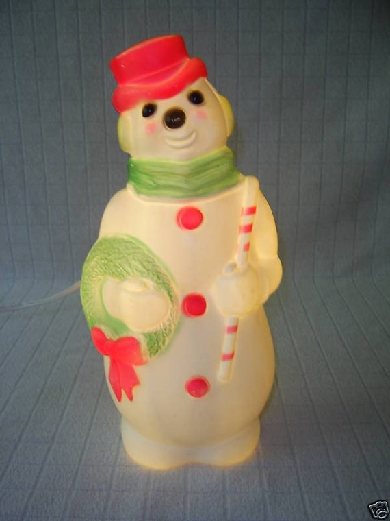 Vintage Empire Light Up Snowman Blow Mold Pink Accents