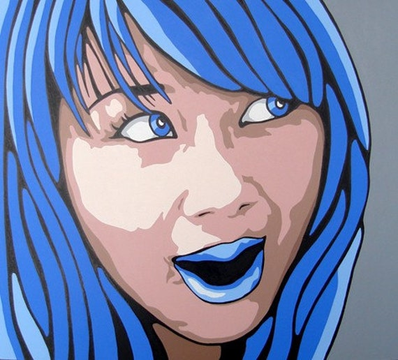ORIGINAL Modern Abstract POP Art Portrait Painting Acrylic Face Illustration 20x18 Blue Eyed Girl Portrait