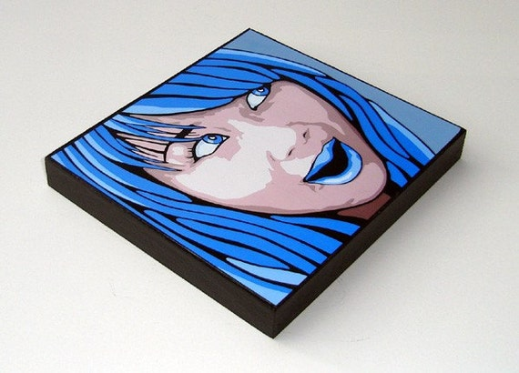 Mounted Print Blue Hair Blue Eyes POP Art Girl Face Small Portrait Print