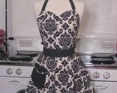 The BELLA Vintage Inspired Black and White Damask Full Apron