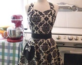 The MAGGIE Vintage Inspired Black and White Damask Full Apron