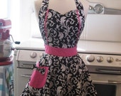 The MAGGIE Vintage Inspired Black and White Scroll with Hot Pink Full Apron