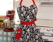 The BELLA Vintage Inspired Black and White Scroll with Red Full Apron