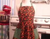 Vintage Inspired Fall Leaves on Black Full Apron for Little Girls