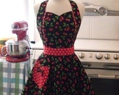 The MAGGIE Vintage Inspired Red Cherries on Black Full Apron