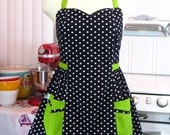 Plus Size Apron - Polka Dot Black White with Lime Green