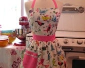 The CHLOE Vintage Inspired Birds Galore on White Full Apron