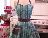 The BELLA Vintage Inspired Topiary Trees on Blue Full Apron