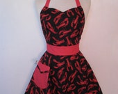 Apron Retro Style Sweetheart Neckline Red Lobster Full Apron BELLA Vintage Inspired