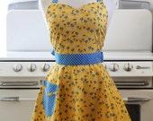 Apron Retro Style Sweetheart Neckline Birdies on Yellow Full Apron BELLA Vintage Inspired