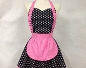 French Maid Apron Polka Dot with Hot Pink - MIMI Retro Full Apron