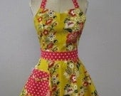 The BELLA Vintage Inspired Floral on Golden Yellow Full Apron