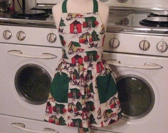 Vintage Inspired Doggie in Doghouse Full Apron for Little Girls