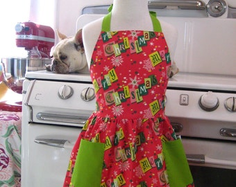 Vintage Inspired Red and Green Retro Merry Christmas Full Apron for Little Girls