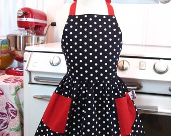 Vintage Inspired Black and White Polka Dot with RED Full Apron for Little Girls