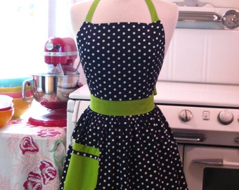 Retro Polka Dot Apron Black and White with Lime Green Full Apron CHLOE