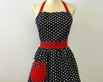 Apron Retro Polka Dot Black and White with Red CHLOE