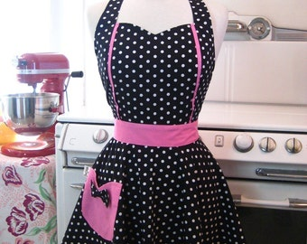 Retro Apron Sweetheart Neckline Black and White Polka Dot with HOT PINK Full Apron MAGGIE