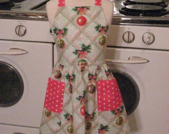 Vintage Inspired Christmas Ornaments on White Full Apron for Little Girls