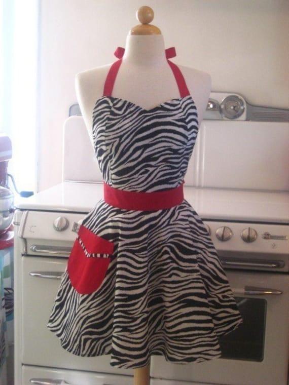Retro Apron Zebra with RED Full Apron Bella
