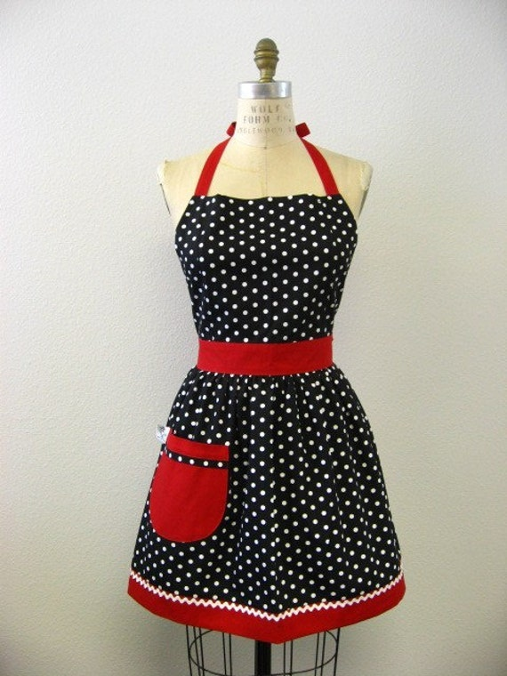 The CHLOE Vintage Inspired Black and White Polka Dot with Red Full Apron