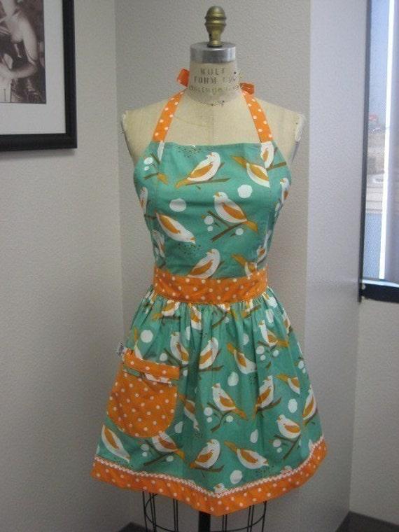 The CHLOE Vintage Inspired Turquoise and Orange Birdseed Full Apron