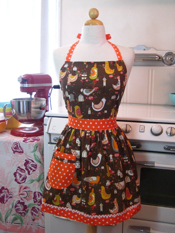 The CHLOE Vintage Inspired Brown Willow Wren Birds Full Apron
