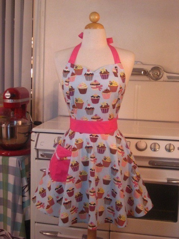 The BELLA Vintage Inspired Blue Cupcake with HOT Pink Full Apron