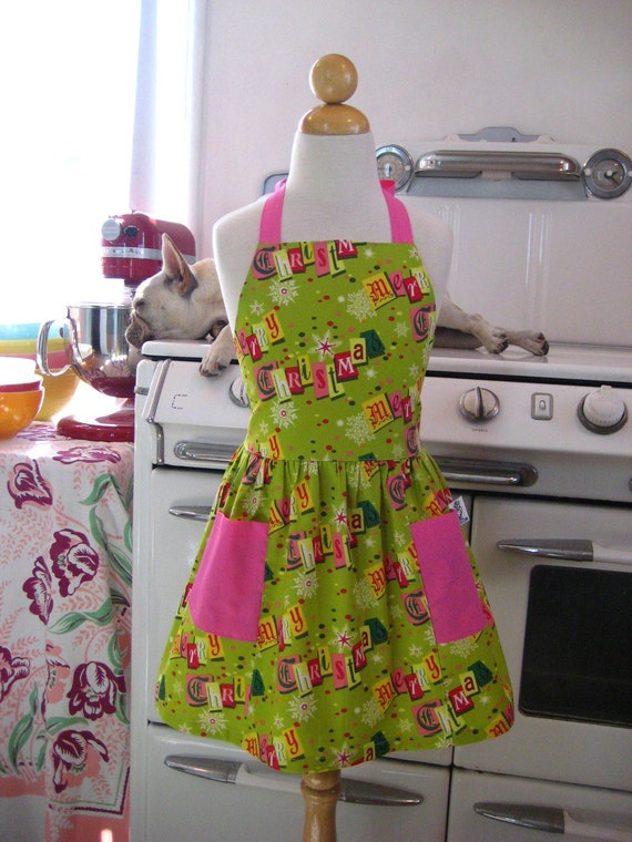 Retro Child Apron Lime Green and Pink Retro Merry Christmas