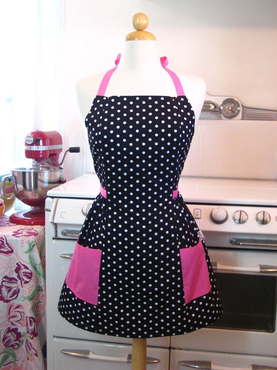 Retro Full Apron Black and White Polka Dot w HOT Pink by Boojiboo